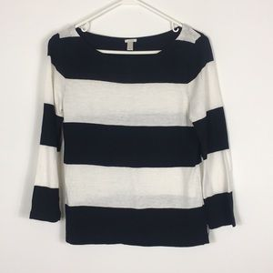 J. Crew Black and White Striped Top